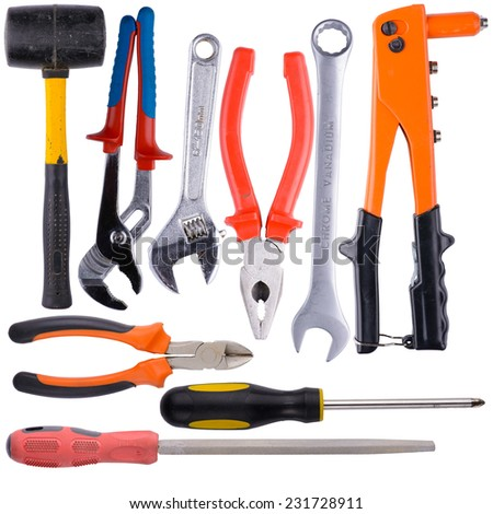 Tool collage on white background with the image of construction and repair tools. - stock photo