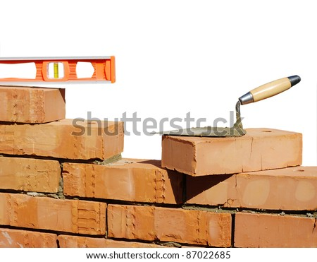 Tool for laying and bricks - stock photo