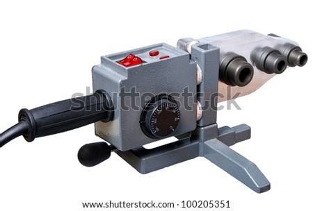 Tool  for welding plastic pipe isolated on a white background. Used to install plumbing and heating pipes made of polypropylene