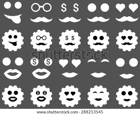 Tool, gear, smile, emotion icons. Glyph set style: bicolor flat images, black and white symbols, isolated on a gray background.