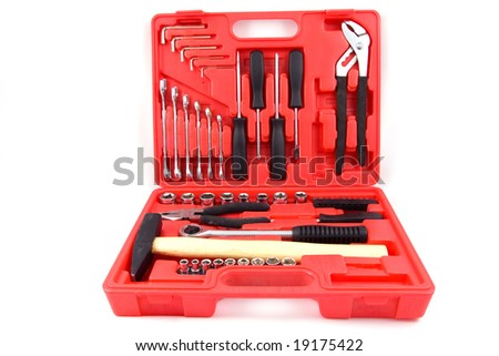 Tool kit of various metal tools in the red box - stock photo