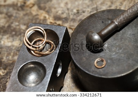 Tool master jeweler closeup , handmade jewelry production - stock photo