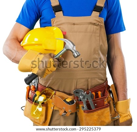 Toolbelt, handyman, isolated.