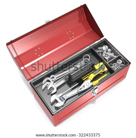 Toolbox and tools. Top view of open red metal Toolbox. Various tools, bolts and nuts.