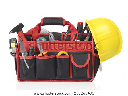 Toolbox filled with tools - stock photo