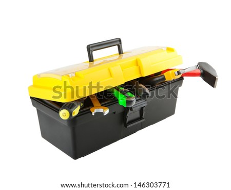 toolbox isolated on white - stock photo