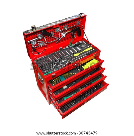 Toolbox isolated over a white background - stock photo