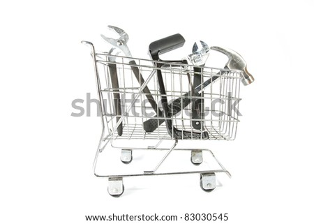 toolbox trolley,  many tools product inside mart trolley. - stock photo