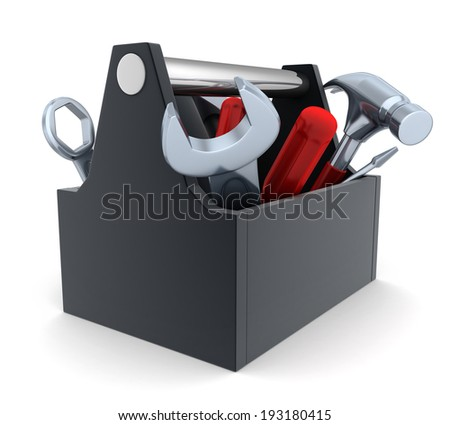 Toolbox, white and isolated  background (done in 3d)    - stock photo