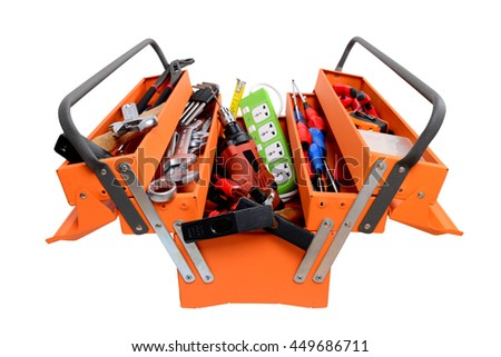 Toolbox with instruments isolated on white background - stock photo
