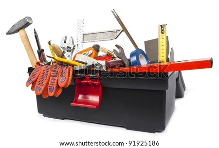 Toolbox with instruments on white background - stock photo