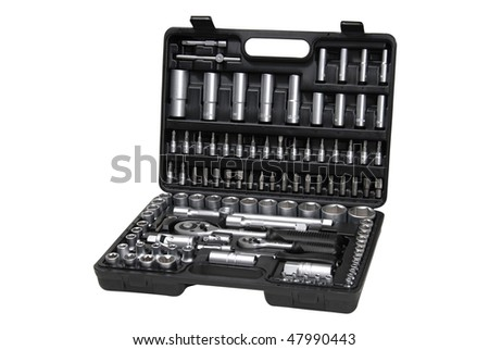 toolbox with several different tools, isolated on white, with clipping path