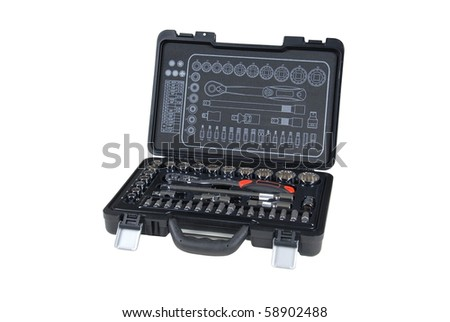 toolbox with several different tools, isolated on white, with clipping path - stock photo