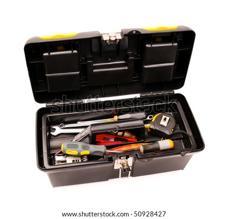 Toolbox with used tools isolated on white - stock photo