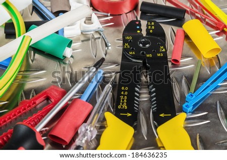 Tooling of the electrician, close up - stock photo