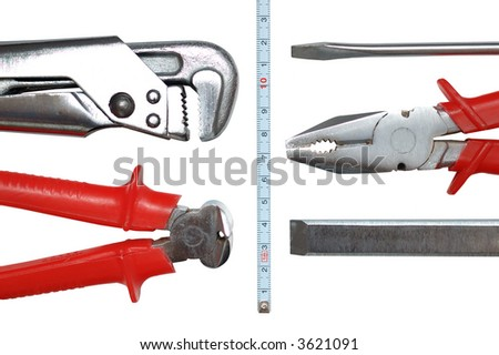 Toolkit of six items isolated on white - stock photo