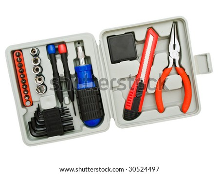 Toolkit of various  tools in the grey box