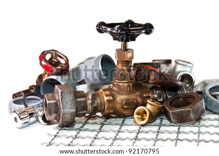 tools and accessories for plumbing - stock photo