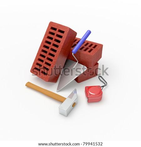 Tools and bricks. - stock photo
