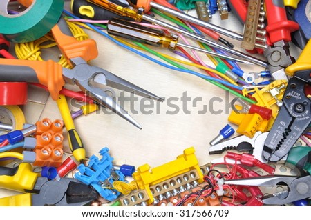 Tools and component kit for use in electrical installations - stock photo