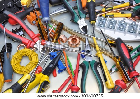 Tools and component kit to use in electrical installations - stock photo