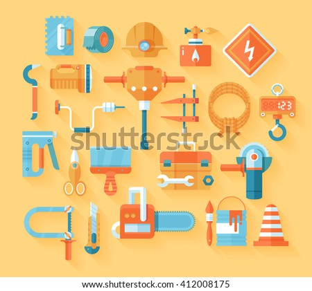 Tools and construction equipment icons - stock photo