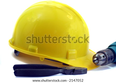 Tools and Hard Hat - stock photo