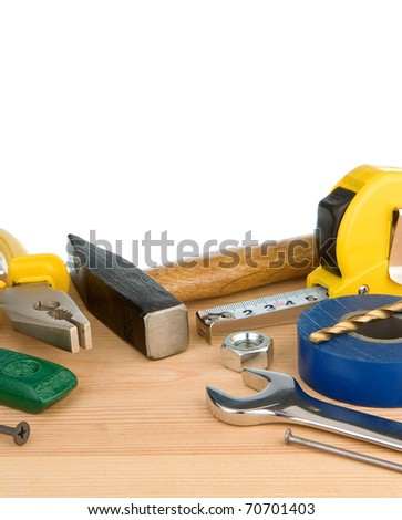 tools and instruments isolated on white background - stock photo