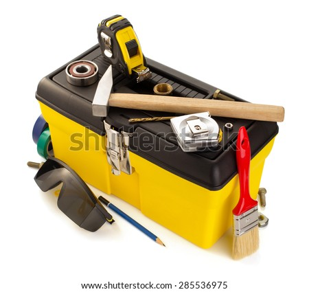 tools and instruments with toolbox isolated on white background - stock photo