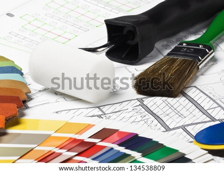 tools and materials to repair the drawing new room - stock photo