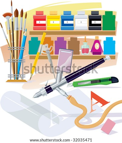 Tools and materials which are used in the work by the artist - stock photo