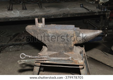 Tools - anvil used by a blacksmith in old shop