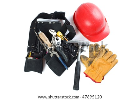 tools belt , helmet and leather glove - stock photo
