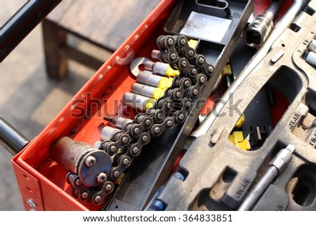 Tools box in the garage of vehicle repair. screwdriver for car fix on duty - stock photo