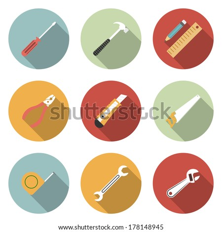 Tools flat icons set. Raster version