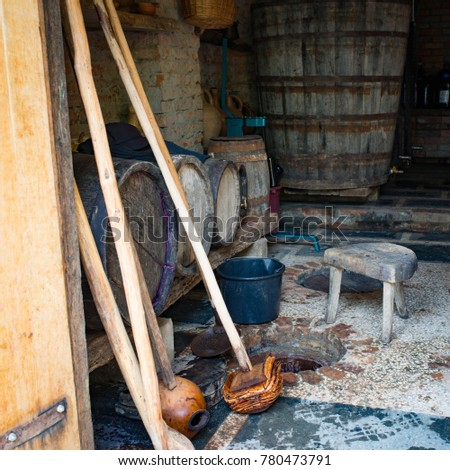 Tools for cleaning of the georgian wine kvevri