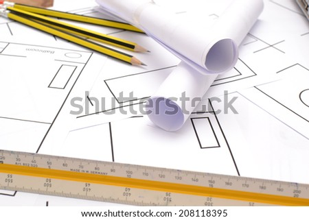 Tools for construction drawings - stock photo