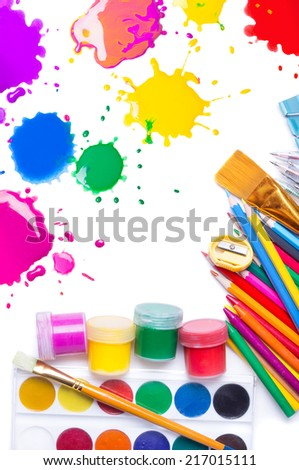 tools for creative work on a white background  - stock photo