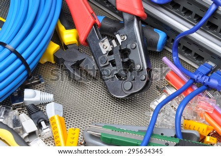 Tools for crimping with component to computer network - stock photo