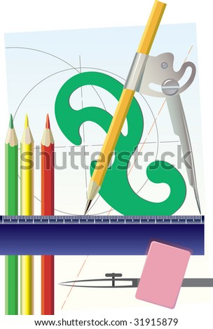 Tools for drawing of straight lines and circles on drawings. vector. illustration - stock photo