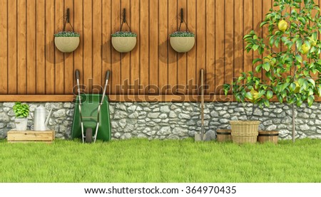 Tools for gardening in a garden with  old wall, wooden fence and lemon tree-3d rendering - stock photo