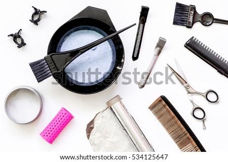 Tools Hair Dye Hairdye Top View Stock Photo (Royalty Free) 534125647 ...