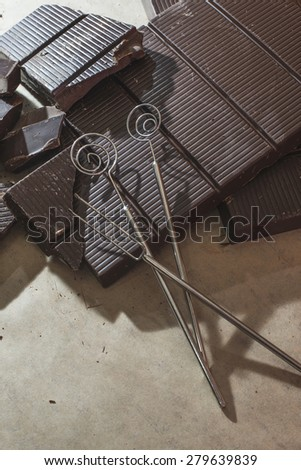 Tools for making chocolates. Chocolate bar - stock photo