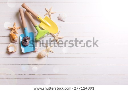 Tools for playing in sand for kids and sea object in ray of light  on white  painted wooden planks. Place for text. Vacation background. - stock photo