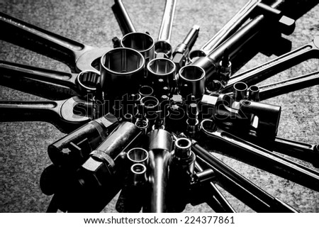 tools for service station - stock photo