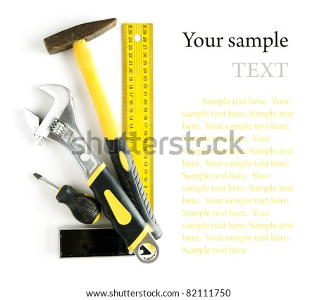 Tools frame isolated on white background with copyspace and sample text - stock photo