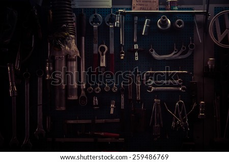 Tools from mechanical workshop - stock photo