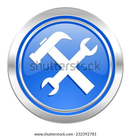 tools icon, blue button, service sign
