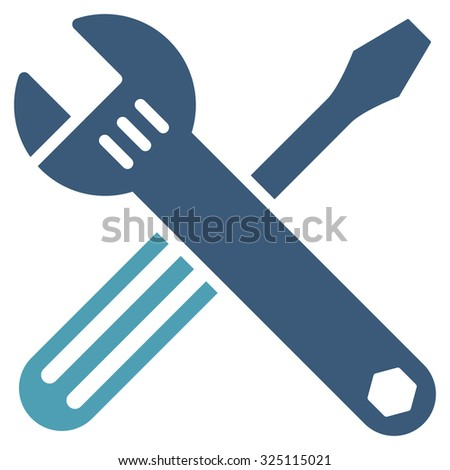 Tools illustration icon. Style is bicolor flat symbol, cyan and blue colors, rounded angles, white background.