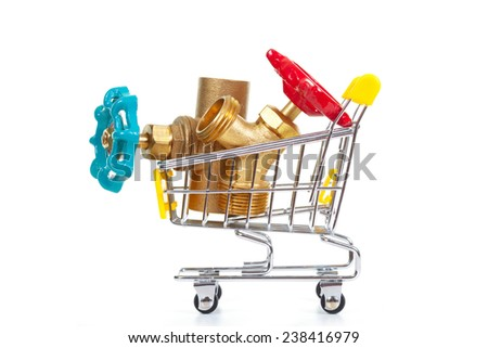 Tools in shopping cart, isolated on the white background - stock photo